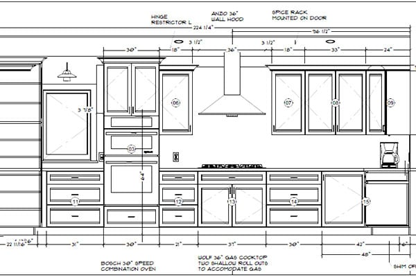 Plans and measurements of a kitchen remodel