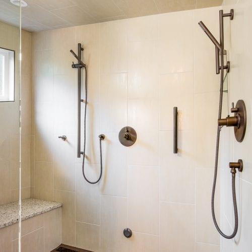 Elegant shower with white tile