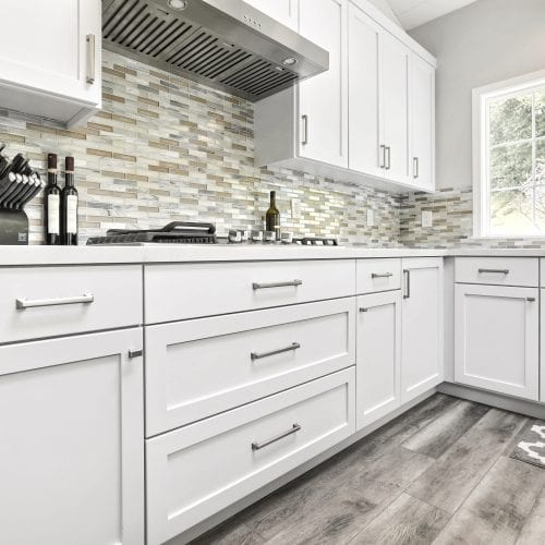 White wood cabinets and cupboards for storage