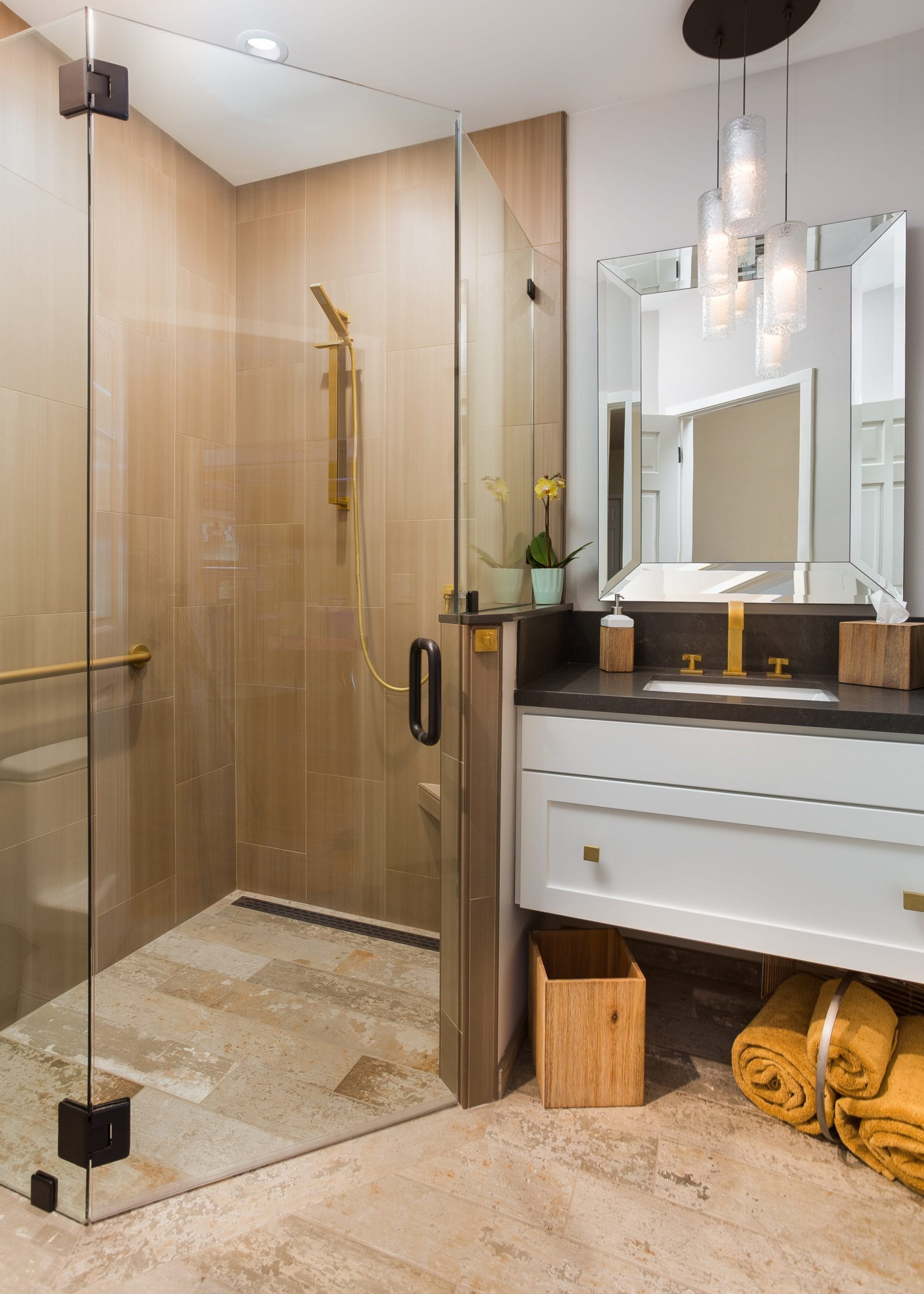 Bathroom with wooden sliding drawer