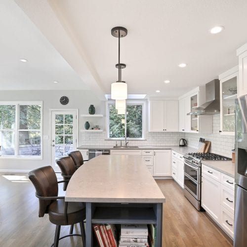 Kitchen island with seating for three