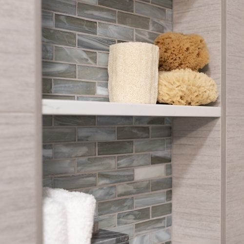 Stone backsplash for white shelving unit