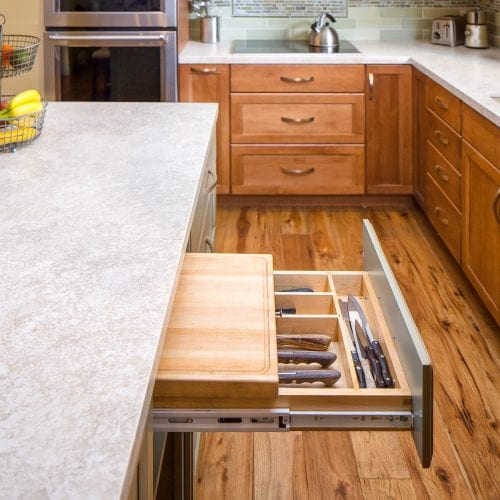Pull out drawer with built in cutting board