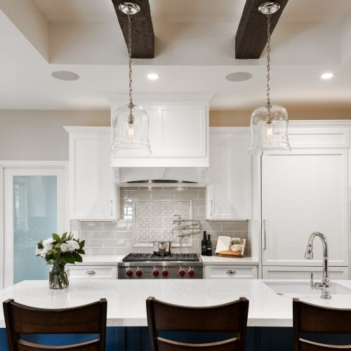 Kitchen island with overhead hanging lights