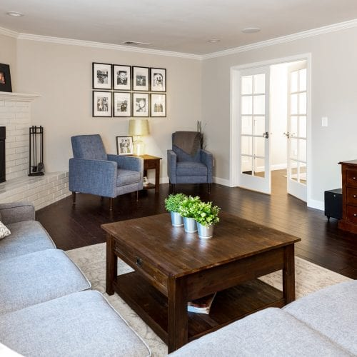 Living room with dark wood table