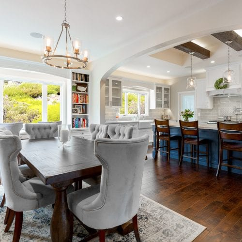 Dining room table with hanging chandelier