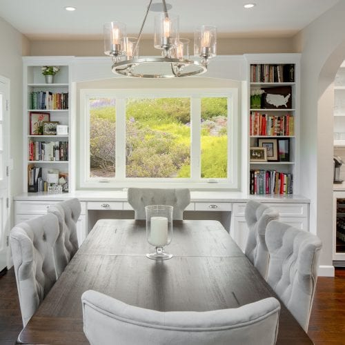 Dining room table with candle in the middle