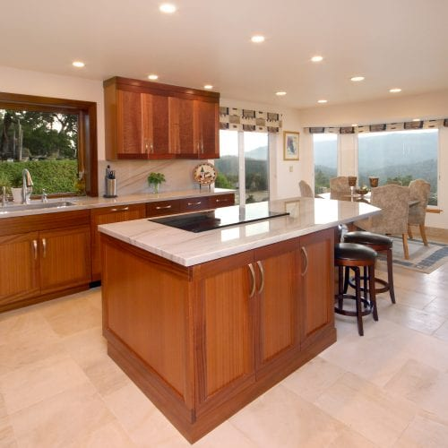 Kitchen island with built-in electric stovetop