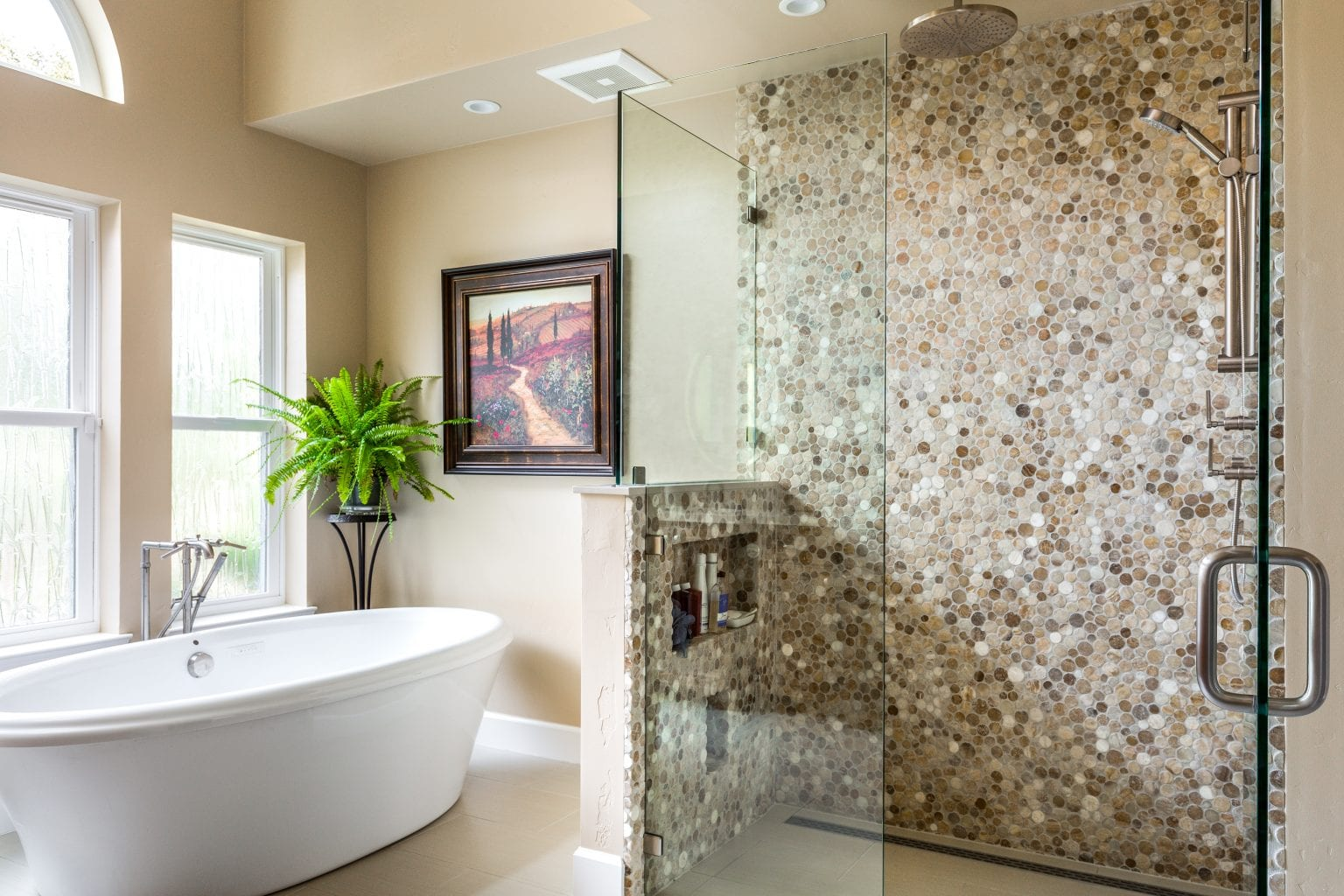 Bathroom with granite shower wall
