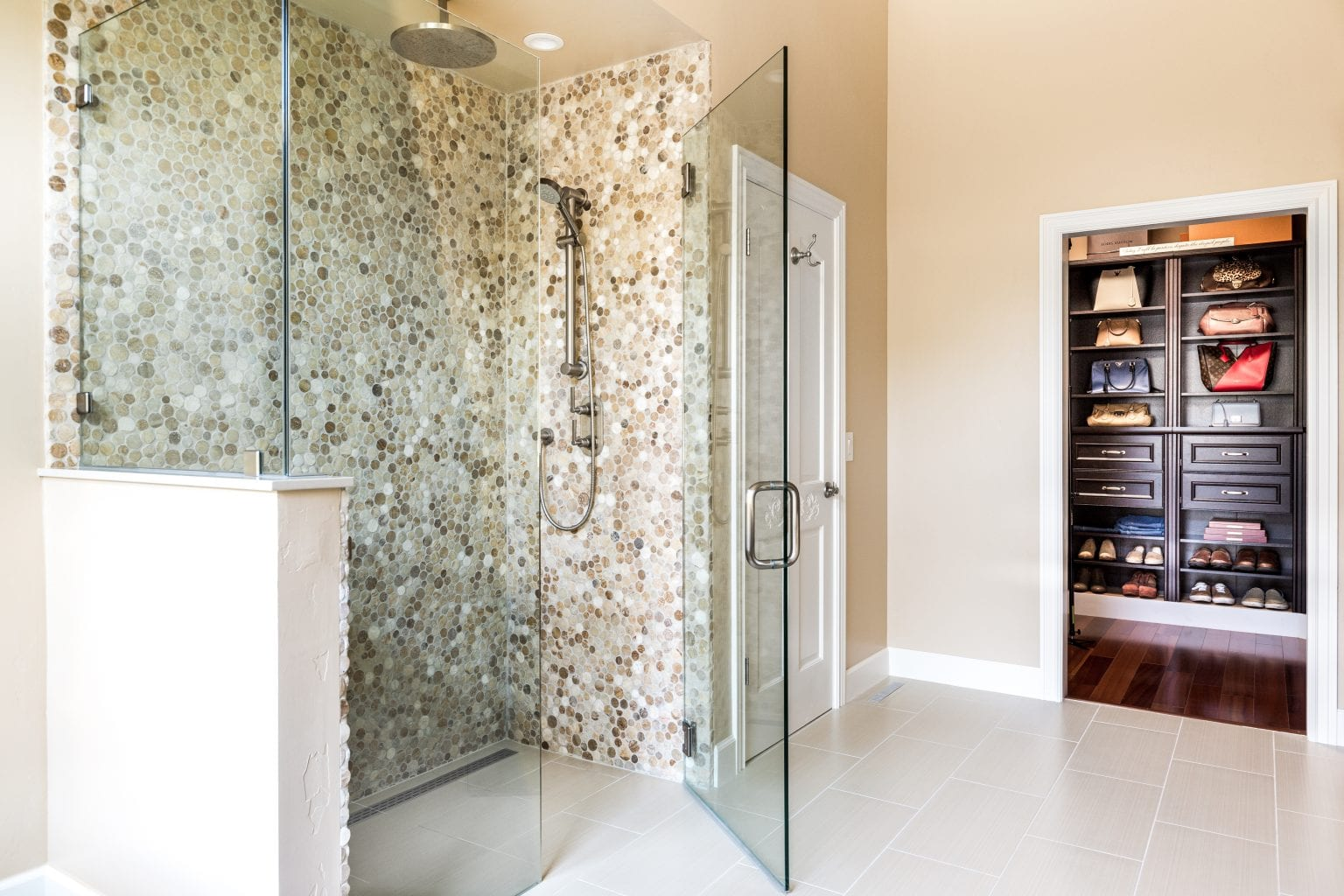Shower with large glass doors